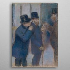 Premium Thick-Wrap Canvas entitled Portraits at the Stock Exchange. This study for an oil painting by Degas of (Musee d'Orsay, Paris) depicts the financier and collector Ernest May under the portico of the Paris stock exchange. Abstract Canvas, Artist Canvas, Canvas Wall Art, Canvas Prints, Art Prints, Thing 1, Edgar Degas, Types Of Art, Baby Clothes Shops