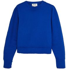 Acne Studios Galatea cotton-blend jersey sweatshirt (22.745 RUB) via Polyvore featuring tops, hoodies, sweatshirts, blue, boxy top, blue top, blue sweatshirt, cotton jersey и acne studios