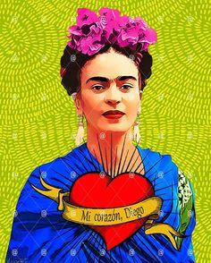 Frida poster Mi corazon Diego Mexican Art posters Frida