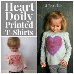 Heart Doily T-Shirts Redux! Favorite heart-printed t-shirts for Kids made again 3 years later with updated tips and tricks. Makes a great Valentine's Day gift!