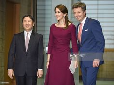 --welcomed by Japanese Crown Prince Naruhito (L) upon their arrival for a dinner at the Akasaka Palace in Tokyo on March 28, 2015---Danish Crown Prince Frederik and his wife Crown Princess Mary is... News Photo | Getty Images
