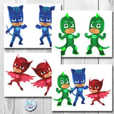 ***INSTANT DOWNLOAD*** PJ MASKS CENTERPIECE/CAKE TOPPERS (Group and Individual) ---2 SIZES--- 9 - 10.5 inches depends on the character (BIG) 7 - 8 inches depends on the character (SMALL)  You also get: ---8 inches tall CAKE TOPPER  ALL IMAGES ARE DOUBLE-SIDED  BORDERED/OUTLINED for easier cutting   This listing is for the DIGITAL FILE ONLY which you can then print, cut and assemble as many as you need from home or printing shop.  IMPORTANT!!!!  **PLEASE EXTRACT THE ZIP FILES FOR YOU TO…