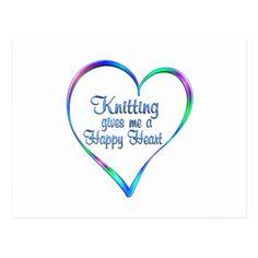#Knitting Happy Heart Postcard - #knitting #gifts