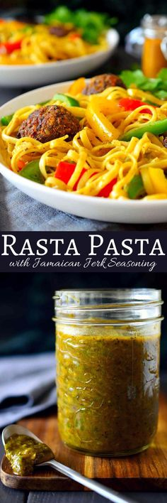 This vegan rasta pasta recipe is a total flavour bomb. Served with delicious vegan walnut balls and crisp bell peppers in a creamy curry coconut sauce, this dish is hearty and will keep you full for h (Vegan Pasta Recipes) Vegetarian Pasta Recipes, Veggie Recipes, Dinner Recipes, Healthy Recipes, Vegan Pasta, Vegan Food, Rasta Pasta Recipe, Caribbean Recipes, Caribbean Food