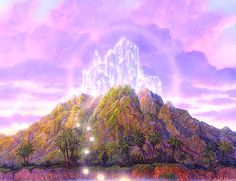 """""""Crystal Sanctuary"""" by Gilbert Williams. Gilbert Williams is one of the most widely known visionary artists, and his bountiful images have done much to give people """"glimpses"""" of higher dimensional worlds and magical beings. Between Two Worlds, Mystique, New Earth, Visionary Art, Ancient Aliens, Psychedelic Art, City Lights, Fantasy Art, Cool Pictures"""