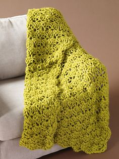Speed Hook Shell Afghan By Lion Brand Yarn - Free Crochet Pattern - See http://www.ravelry.com/patterns/library/speed-hook-shell-afghan For Additional Projects - (lionbrand)