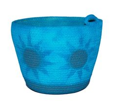 Rope Coiled Basket  Airbrushed Turquoise by PaleMoonTreasures, $25.00