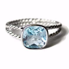 Vintage Swiss Blue Topaz Cushion Cut Ring Sterling Size 6