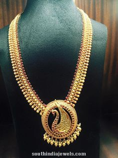 Gold Antique Ruby Long Necklace