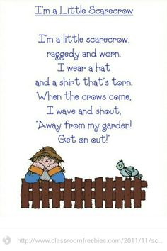 Classroom Freebies: Scarecrow Poem Will use this for our fall fun activities--snipping practice for the fence, right/left placement Preschool Music, Fall Preschool, Preschool Themes, Preschool Activities, Preschool Transitions, Preschool Halloween, Thanksgiving Preschool, Music Activities, Preschool Lessons