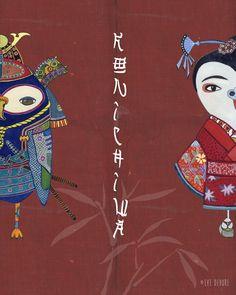 Bright and luminous watercolor art prints by Eve Devore Samurai and Geisha