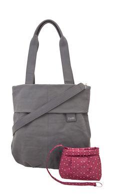 Frauentaschen :: MADAME :: MM15 | ZWEI Taschen Shopper :: grau