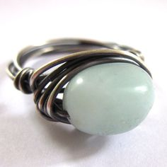 Sterling Silver Wire Wrapped Ring Amazonite Blue Stone  £15.00