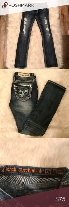 Woman's size 27 rock revival jeans Perfect condition. No flaws no holes rips or stains size 27. Worn once straight leg fit has small hints of teal stitching Rock Revival Jeans Straight Leg