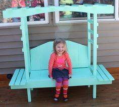 Kid's Garden Bench With Arbor DIY, easily done, link has plans etc. Thanks to Jamie LaPlant.