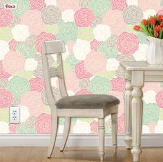 Removable wallpaper in modern floral print  pinks, mints, lime, gray, and white…