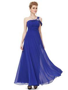 スタイリッシュなブルーのワンショルダーロングドレス - ロングドレス・パーティードレスはGN|演奏会や結婚式に大活躍!