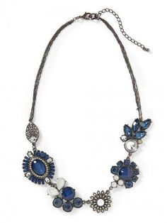 Tinley Road Embellished Deco Necklace Blue Gunmetal | Jewelry and Accessory
