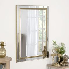 Barber Accent Mirror Canora Grey Size: H x 46 cm W, Finish: Gold Hall Mirrors, Hallway Mirror, Living Room Mirrors, Living Room Decor, Bedroom Mirrors, Glass Mirrors, Large Mirrors, Spiegel Design, White Master Bathroom