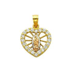 14K 3 Tri-color Gold Religious Mary Guadlupe CZ Cubic Zirconia Charm Pendant Goldenmine. $92.00. Manufactured using up-to-date manufacturing techniques ensuring the highest quality and value. Promptly Packaged with Free Shipping and Free Gift Box... Perfect for Gift Giving. Completely redesigned and revamped for the year 2012. This jewelry is symbolic in nature and can be the perfect gift for any and all occasions. This item features a high polish finish for Ex...
