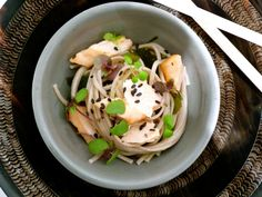 Salmon wakame soba noodles and ponzu-miso dressing