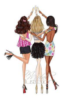 Fashion Illustration Print Champagne Chic by MMichelIllustration