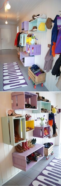 DIY Shoe Wall Storage System