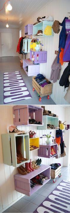 DIY Shoe Wall Storage System Ideas