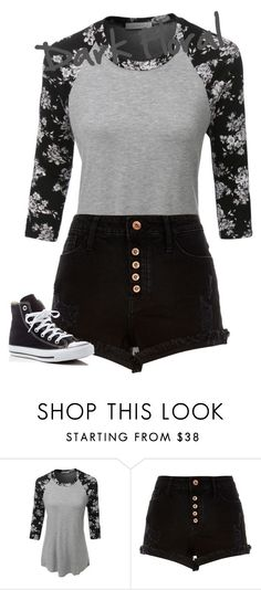 """Dark Floral"" by avalienho on Polyvore featuring LE3NO, River Island, Converse, floral and blessed"