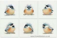 Birds - Chickadees Square Coaster Set by Valerie Pfeiffer (Set of 6) - Heritage Crafts