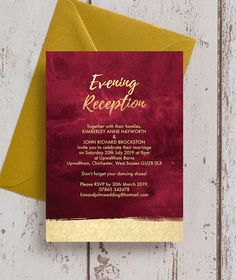 Personalised burgundy and gold wedding stationery with a faux foil effect, burgundy / maroon / dark red / marsala winter background with champagne gold brush lettering, Includes Invitations / Invites, Save the Dates, RSVP / Reply cards, Honeymoon Gift Wish Poem Cards, table names and numbers, signage, menus and place settings. Personalise designs with your own text online for an instant printable PDF or professionally Printed & Delivered.