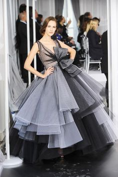 Black evening dress, sheer & taffeta fabric (like the use of fabrics and placement of bow)