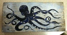 Octopus on aged barn wood acrylic painting  on Etsy, $65.00 -- MichaelSethDesign