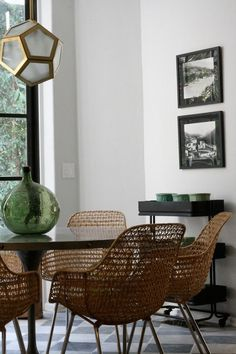 Nate Berkus is another designer to favor wicker.  These delightful chairs have a commanding and yet relaxed presence. These are, perhaps, wicker's tribute to the iconic Eames chair. Modern, classic, simple and sophisticated.