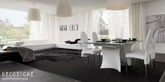 Decostore by Zorzos Co Dining Room, Dining Table, Dining Furniture, Santorini, Carpet, Wall Decor, Sofa, Black And White, Lighting