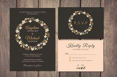 Wreath Wedding Invitation   RSVP by iamwulano on @creativemarket