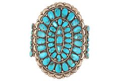 Large Turquoise & Silver Cluster Bracelet by Ruby + George on @Jonathan London Kings Lane