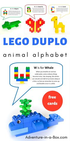 How To Produce Elementary School Much More Enjoyment Use Lego Duplo To Build Animals While Learning The Alphabet Included Are 26 Free Printable Cards With Ideas Of Animal And Letter Designs. Lego Duplo Animals, Lego Duplo Sets, Free Printable Cards, Lego Printable, Printables, Learning The Alphabet, Preschool Alphabet, Alphabet Activities, How Many Kids