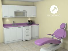 CONSULTORIO DENTAL Detalles: Melamine blanca tropical con tablero post formado color lila.