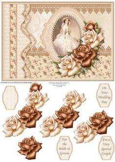 VINTAGE WEDDING DAY Bride Cream Roses Decoupage on Craftsuprint designed by…
