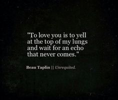 """""""To love you is to yell at the top of my lungs and wait fro an echo that never comes"""" - Beau Taplin quote"""