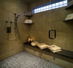 Traditional bathroom with a shower room! #designmine #luxury