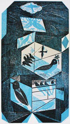 Bird Box Blue collagraph by Charles Shearer Emma Mason Gallery