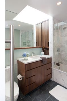 Tiny Bathroom Design Ideas, Pictures, Remodel, and Decor - page 2. Like the marble; the thin vanity and tile back splash