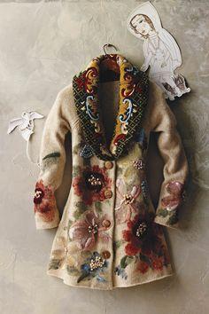 Handpainted Poppies Sweatercoat