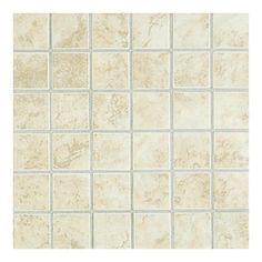 American Olean 10-Pack 12-in x 12-in Montevina White Linen Ceramic Mosaic Floor Tile  For kids bathroom