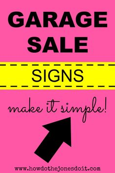 The trick is to create garage sale signs you can use year after year after year. This makes a small initial investment really pay off! investing ideas, how to invest Yard Sale Signs, Garage Sale Signs, For Sale Sign, Garage Sale Organization, Organizing, Estate Sale Signs, Garage Sale Pricing, Virtual Garage Sale, Rummage Sale