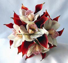 Crimson Red Calla Lily Off White Orchid