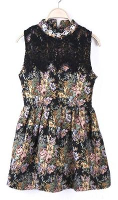 Black Stand Collar Sleeveless Floral Tank Dress