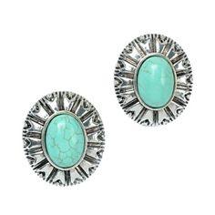 Amazon.com: Ginasy Women Oval Turquoise Stud Earrings: Jewelry